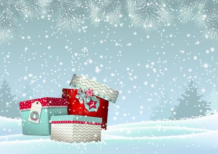 눈 덮인 풍경, 벡터 일러스트 레이 션의 화려한 Giftboxes입니다의 스택과 함께 크리스마스 배경, 투명성과 그라디언트 망와 EPS 10