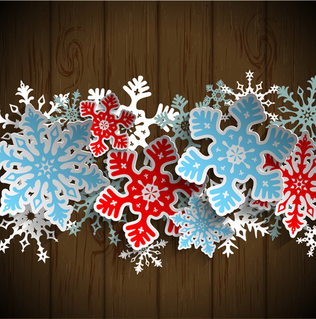 dark beige: Abstract  blue and red snowflakes on dark brown wooden background with 3D effect, winter concept, vector illustration, eps 10 with transparency