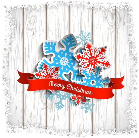 wintery: Colorful stylized snowflakes and ribbon with text Merry Christmas on white wooden background, vector illustration, eps 10 with transparency