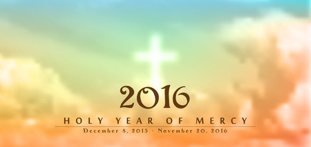 mercy: Holy Year of Mercy, December 8, 2015 - November 20, 2016, text on blurred clouds with white cross, christian motive, vector illustration, eps 10 with transparency and gradient mesh