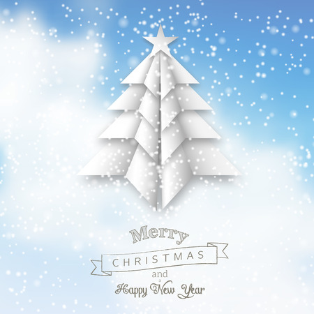 wather: White origami christmas tree on abstract sky with clouds, vector illustration, eps 10 with transparency and gradient mesh