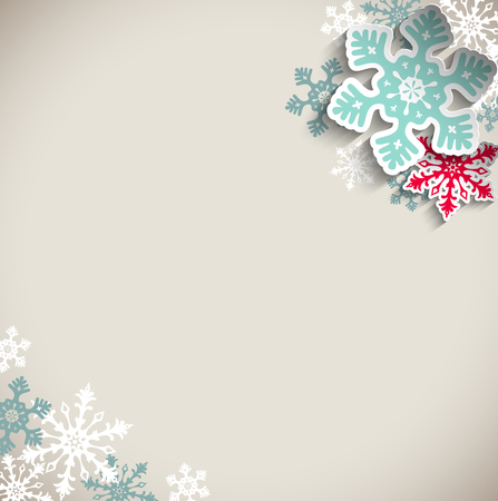 Abstract  blue and red snowflakes on beige background with 3D effect, winter concept, vector illustration, eps 10 with transparency