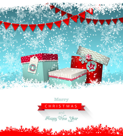 christmas greeting card, group of colorful giftboxes with abstract snowflakes and garland, vectro illustration, eps 10 with transparency