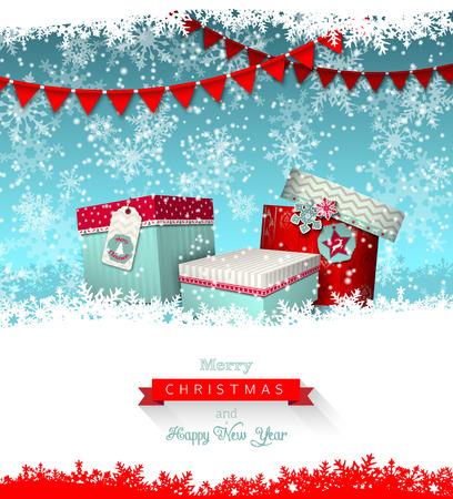kerst wens kaart, groep van kleurrijke giftboxes met abstracte sneeuwvlokken en slinger, vectro illustratie, eps 10 met transparantie