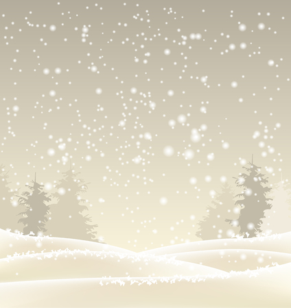 forest landscape: winter landscape, abstract sepia winter background, vector illustration, eps 10 with transparency and gradient meshes