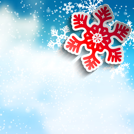 red sky: Abstract  blue and red snowflakes on blue sky with clouds, with 3D effect, winter concept, vector illustration, eps 10 with transparency