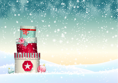 december: Christmas background with stack of colorful giftboxes in snowy landscape, vector illustration, eps 10 with transparency and gradient meshes
