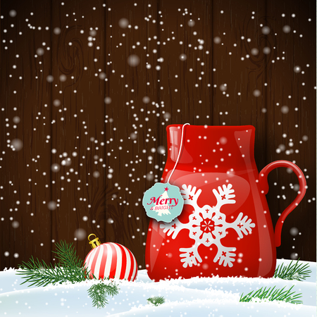 red cup: Red cup with abstract white snowflake in snow with dark brown wooden wall in background, vector illustration, eps 10 with transparency and gradient meshes Illustration