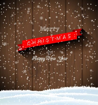 happy new year text: text merry christmas and happy new year on dark brown wooden wall, with snow and snowflakes, vector illustration, eps 10 with transparency and gradient meshes