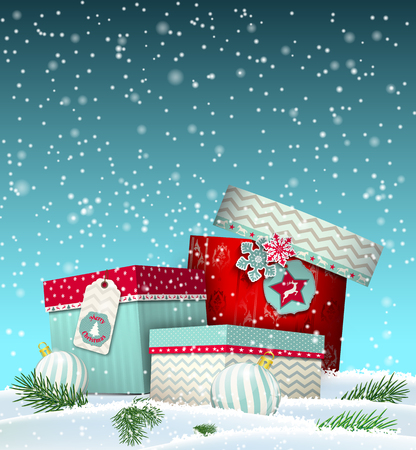 lying in: Christmas greeting card with colorful giftboxes lying in snowy landscape, winter theme, vector illustration, eps 10 with transparency and gradinet mesh Illustration