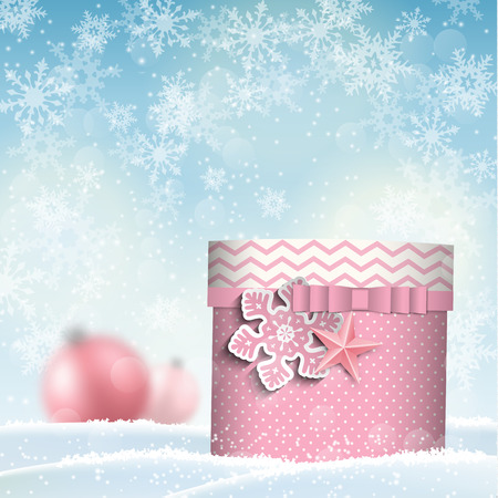 snowscape: pink giftbox in snowdrift, christmas motive, vector illustration, eps 10 with transparency and gradient mesh