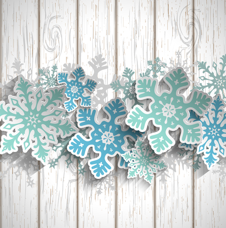 Abstract blue snowflakes  with 3d effect on white wooden background, winter or chritmas concept, vector illustration, eps 10 with transparency Vettoriali