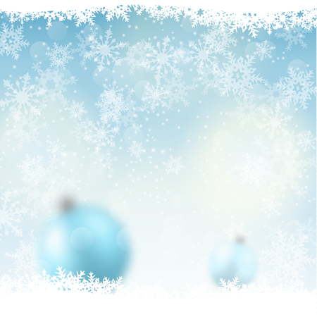snowscape: christmas background, blurred blue  balls in snow, with abstract snowflakes, vector illustration, eps 10 with transparency and gradient mesh