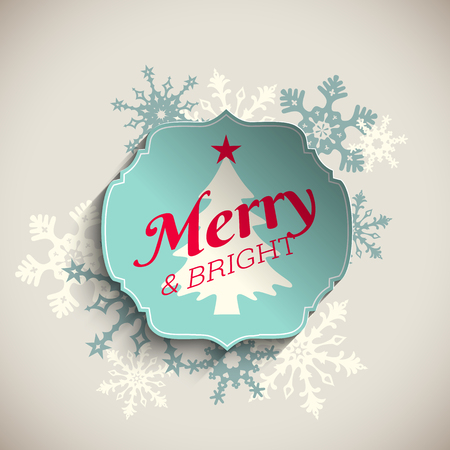 De kaart van de Kerstmisgroet, blauwe sticker met tekst vrolijk en helder met abstracte sneeuwvlokken, op beige achtergrond, vectorillustratie, eps 10 met transparantie