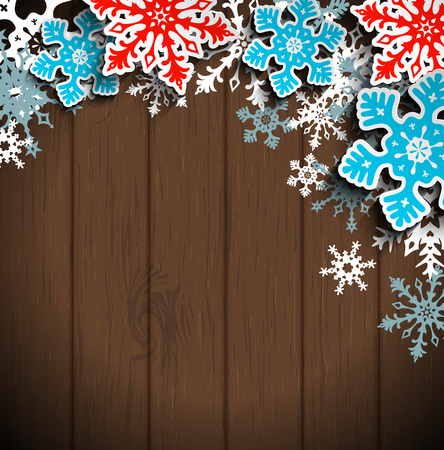 Abstract  blue and red snowflakes on dark brown wooden background, with 3D effect, winter concept, christmas vector illustration, eps 10 with transparency Vectores