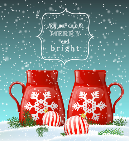 christmas tea: Two red cups with white decorative snowflake in winter landscape, with two balls and green needle branches, christmas greeting card, vector illustration with transparency and gradient meshes Illustration