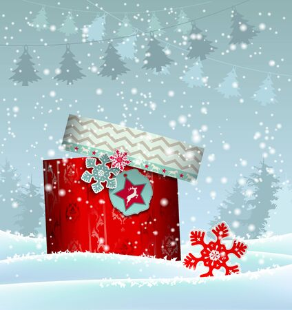 snowscape: Christmas background with colorful gift box in snowy landscape, vector illustration  with transparency and gradient meshes