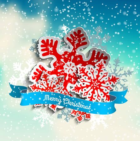 wintery: Colorful stylized snowflakes and ribbon with text Merry Christmas on abstract sky with white clouds, vector illustration, eps 10 with transparency