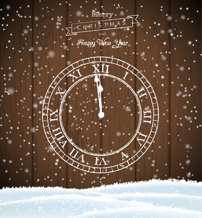 New year greeting card, white clock drawn on dark brown wooden background, vector illustration, eps 10 with transparency and gradient meshes Illustration