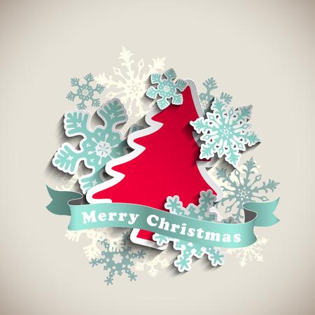 크리스마스 테마, 빨간색 추상 나무와 베이지 색 배경, 벡터 일러스트 레이 션에 파란색 눈송이, 투명성과 그라디언트 망 10 주당 순이익