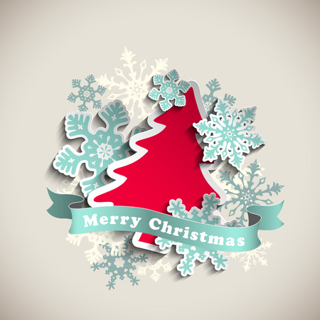christmas theme, red abstract tree and blue snowflakes on beige background, vector illustration, eps 10 with transparency and gradient meshes Vettoriali