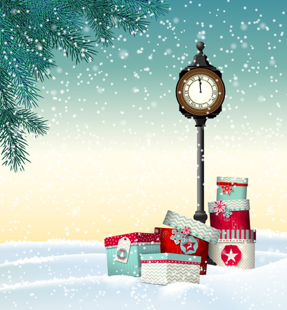 snow: Christmas and new year greeting card, gift boxes with vintage clock in winter landscape, vector illustration, eps 10 with transparency and gradient meshes Illustration
