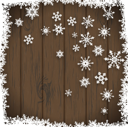 white wood: abstract winter background, stylized snowflakes on dark wooden background, vector illustration, eps 10 with transparency