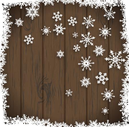 copo de nieve: fondo abstracto del invierno, copos de nieve estilizados sobre fondo oscuro de madera, ilustraci�n vectorial, EPS 10 con la transparencia