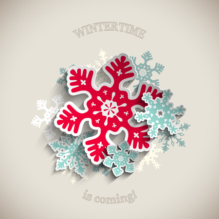 Colorful stylized snowflakes and ribbon with text Merry Christmas on beige background, vector illustration, eps 10 with transparency Vectores