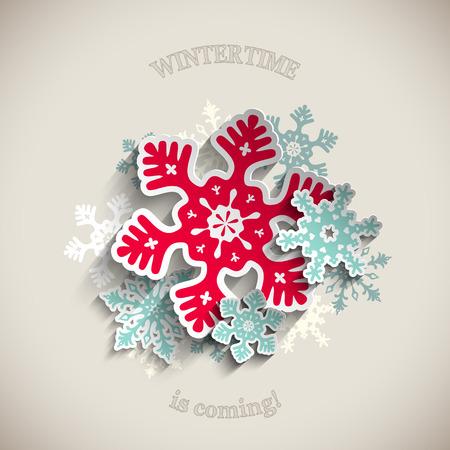 Kleurrijke gestileerde sneeuwvlokken en lint met de tekst Merry Christmas op beige achtergrond, vector illustratie, eps 10 met transparantie