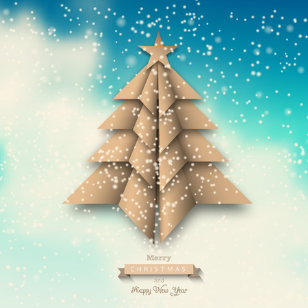 wather: Beige paper origami christmas tree on abstract sky with clouds, vector illustration, eps 10 with transparency and gradient mesh