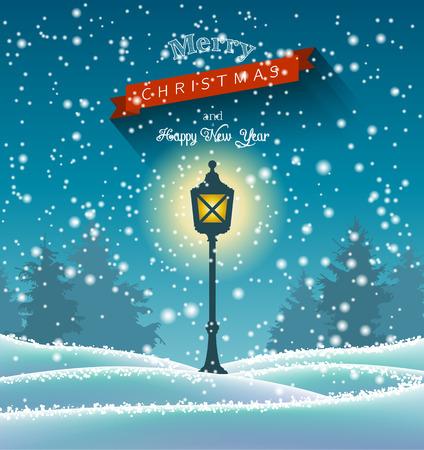 cintas  navide�as: Luminoso L�mpara de la vendimia en el bosque de invierno, escena nocturna, chritmas tema, ilustraci�n vectorial, EPS 10 con transparencia y mallas de degradado