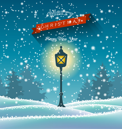 winter snow: Shining vintage lamp in winter forrest, night scene, chritmas theme, vector illustration, eps 10 with transparency and gradient meshes