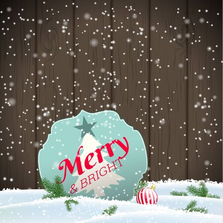 wooden vector mesh: Christmas greeting card, sign with text Merry and bright in snow, with dark brown wooden background, vector illustration, eps 10 with transparency and gradient mesh