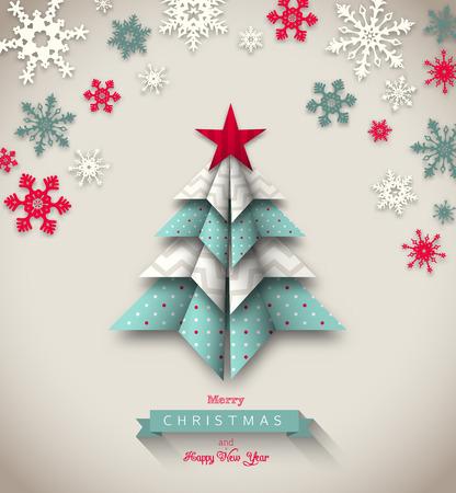 azul turqueza: colorido árbol de origami sobre fondo beige, tema de navidad abstracto, ilustración vectorial, EPS 10 con transparencia y mallas de degradado