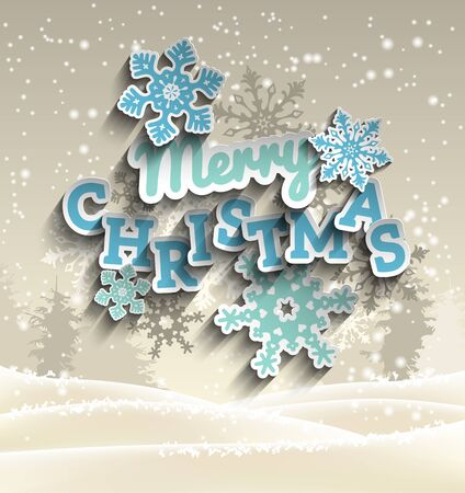 snow landscape: Light blue decorative text Merry Christmas on background with abstract winter landscape, snow and trees in sepia tone, vector illustration, eps 10 with transparency and gradient meshes