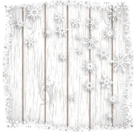 christmas graphic: abstract winter background, stylized snowflakes on white wooden background, vector illustration, eps 10 with transparency