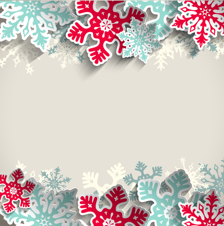 january: Abstract  blue and red snowflakes on beige background with 3D effect, winter concept, vector illustration, eps 10 with transparency
