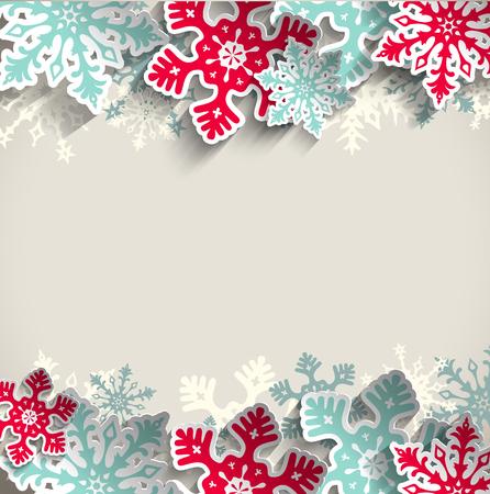 january: Copos de nieve azules y rojas abstractas en fondo beige con efecto 3D, el concepto de invierno, ilustraci�n vectorial, EPS 10 con la transparencia