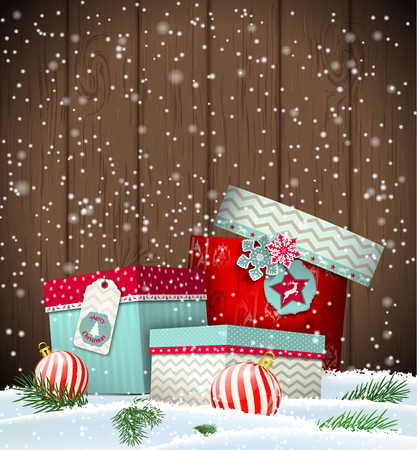 wooden vector mesh: Christmas greeting card with colorful giftboxes on dark wooden background, winter theme, vector illustration, eps 10 with transparency and gradinet mesh