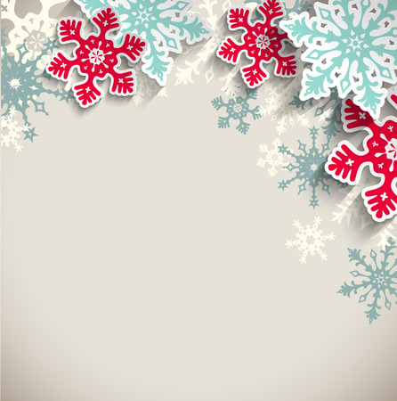 Abstract blue and red snowflakes  with 3d effect on beige background, winter or christmas concept, vector illustration, eps 10 with transparency