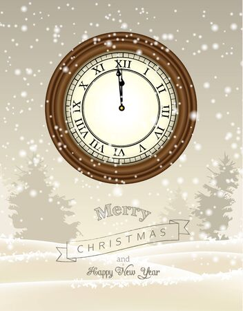 one year old: Clock showing one minute to twelve on beige background with abstract winter landscape, new year greeting card, vector illustration, eps 10 with transparency and gradient meshes