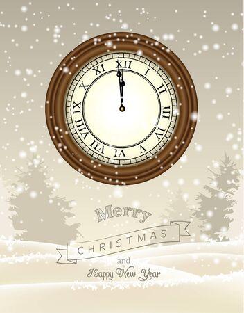 one year old: Reloj que muestra once y cincuenta y nueve en el fondo beige con paisaje abstracto de invierno, nueva tarjeta de felicitaci�n de a�o, ilustraci�n vectorial, EPS 10 con transparencia y mallas de degradado Vectores