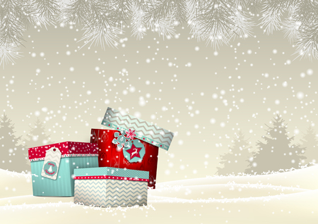december background: Christmas background with stack of colorful giftboxes in snowy landscape in sepia tone, vector illustration, eps 10 with transparency and gradient meshes Illustration