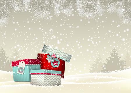 cajas navide�as: Fondo de la Navidad con la pila de giftboxes coloridas en paisaje nevado en tono sepia, ilustraci�n vectorial, EPS 10 con transparencia y mallas de degradado