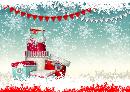 present: christmas greeting card, group of colorful giftboxes with abstract snowflakes and garland, vectror illustration, eps 10 with transparency