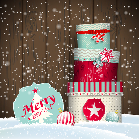wooden vector mesh: Christmas greeting card with colorful giftboxes on dark wooden background, winter theme, vector illustration, eps 10 with transparency and gradient mesh