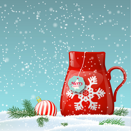 red cup: Red cup decorated with abstract white snowflake in winter landscape, vector illustration, eps 10 with transparency and gradient meshes