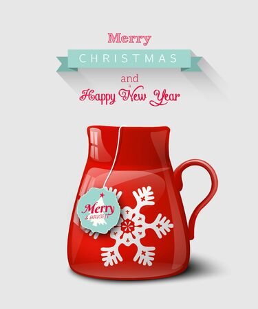 Red cup with snowflake, christmas motive, on gray background, seasonal greeting card, vector illustration, eps 10 with transparency and gradient mesh Illustration