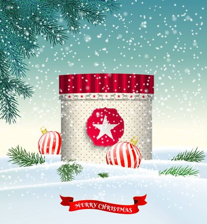 winter snow: Christmas background with red and beige gift box in snowy landscape, vector illustration, eps 10 with transparency and gradient meshes